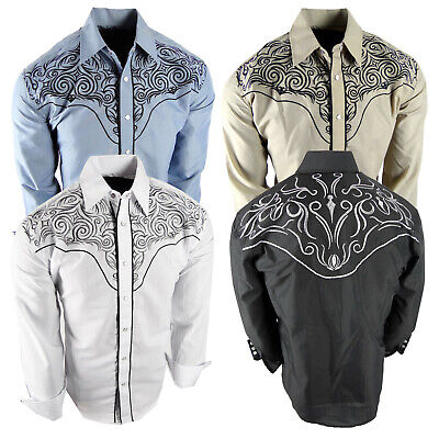 $29.95 • Buy Mens Western Rodeo Shirt Floral Embroidered Shoulders And Back Snap Up Cowboy