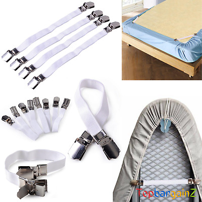 £3.09 • Buy Bed Sheet Grippers Clips Set Suspender Adjustable Fasteners Holders Straps 4pc
