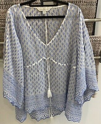 AU25 • Buy Forever New Resort Kimono Sleeve Embroidered Tunic Top - Size M