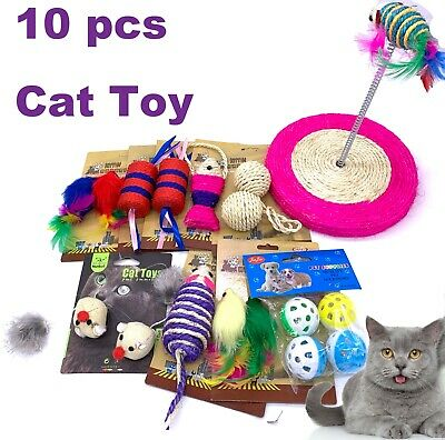 AU17.99 • Buy 10pc Cat Toy Kitten Starter Kit Interactive Stimulating Assorted Toys