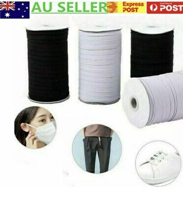 AU7 • Buy 3mm 5mm 6mm Braided Elastic For Mask,strap, Sewing White / Black