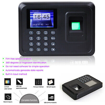 Office Fingerprint Password Time Recorder Clocking In Attendance Machine UK Plug • 22.98£