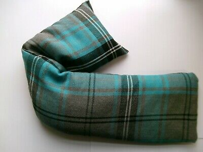 LAVENDER SCENTED TURQUOISE TARTAN  COTTON HEAT PACK. Wheat Bag • 6.99£