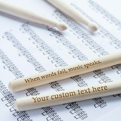 AU17.96 • Buy Personalised Custom Drum Sticks - 5A Size | Design A Truly Unique Engraved Gift