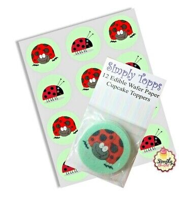 Cupcake Toppers Ladybird Pre-cut Edible Rice Paper Cake Decoration 40mm X 12  • 1.45£
