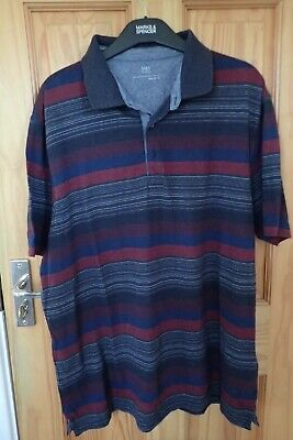 Men's Marks And Spencer L Polo Shirt Blue Grey Striped • 5£