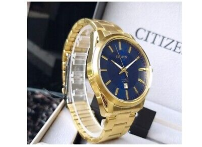 Citizen Quartz Mens Dress Watch WR 100M BI1032-58L Gold Plated Steel UK Seller • 99.95£