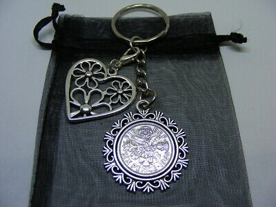£5.95 • Buy Lucky Sixpence & Flower Heart Charm Keyring 1953 To 1967 Choose Date (SK02)