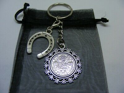Lucky Sixpence & Lucky Horseshoe Charm Keyring 1953 To 1967 Choose Date (SK02) • 5.95£