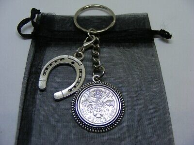 £5.95 • Buy Lucky Sixpence & Lucky Horseshoe Charm Keyring 1953 To 1967 Choose Date (SK03)