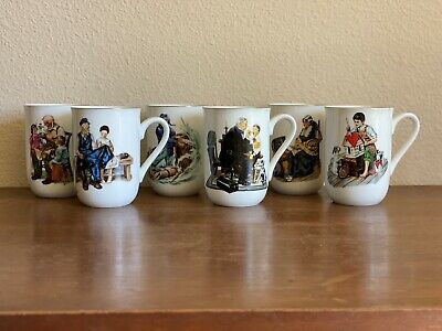 $ CDN37.88 • Buy Vintage 1986 Norman Rockwell Museum Collection Set Of 6 Coffee Cups Mugs
