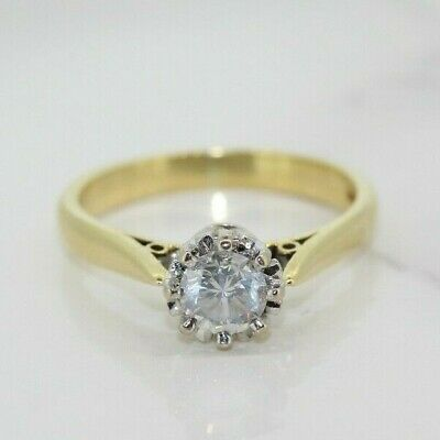 18ct Yellow Gold 0.50ct Diamond Solitaire/Engagement Ring (Size M, US 6 1/4) • 650£