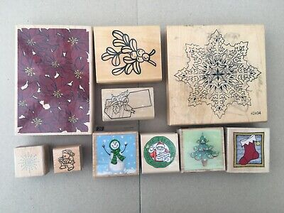 £10 • Buy BNWOT 10 Assorted Christmas Wooden Mounted Rubber Stamps
