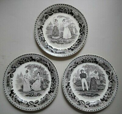 3 Antique French Creamware Pearlware Transfer Pattern Plates C1830 • 32£