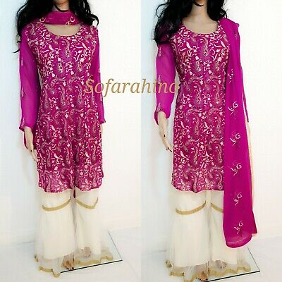 Shalwar Kameez Pakistani Gharara Embroidered Party Wedding Readymade Eid Suit 14 • 33£