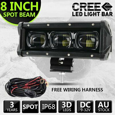 AU59.99 • Buy New 9D 8 Inch CREE LED Light Bar Spot Beam Work Driving Fog Light OffRoad & Wire