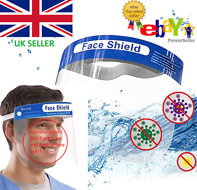 Face Shield Full Face Safety Visor Protection Mask Clear Transparent Shield   • 4.99£