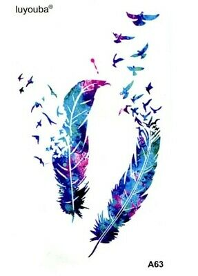 £1.95 • Buy 3D FEATHER Temporary Tattoos Adult Body Art Transfers Small 9x6 Birds Angels 💙