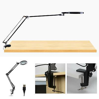 LED Desk Lamp 5X Magnifier Glass With Light Stand Clamp Beauty Magnifying Lamp • 19.99£