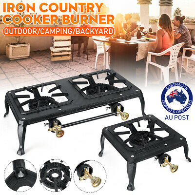 AU37.99 • Buy Single/Double Burner Cast Iron Country Cooker LPG Gas Stove Cooker Camping 10MJ