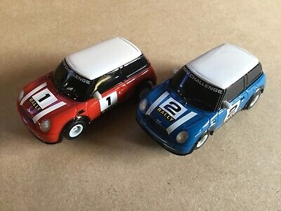 Micro Scalextric  1:64  Cars   Red And Blue Mini Challenge • 14.75£