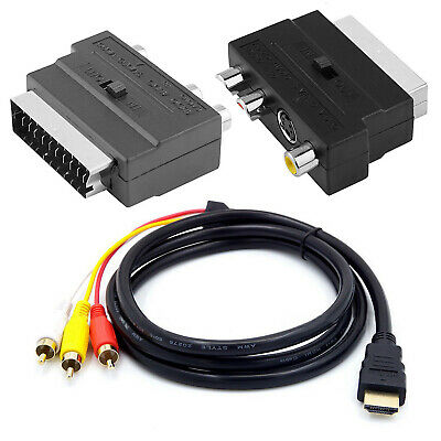 1080p HDMI Male S-video To 3 RCA AV Audio Cable W/SCART To 3 RCA Phono Adapter • 4.49£