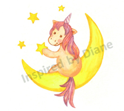 Transparent Self Adhesive Sticker From Painted Wall ,moon & Unicorn Nursery 091 • 3.99£