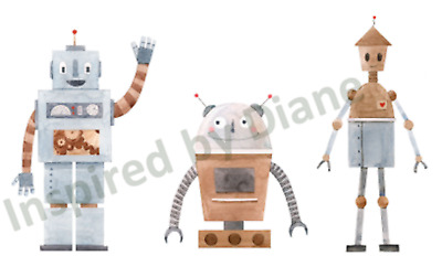 Transparent Self Adhesive Wall Sticker From Painted, Robots Set Nursery Kids 141 • 4.99£
