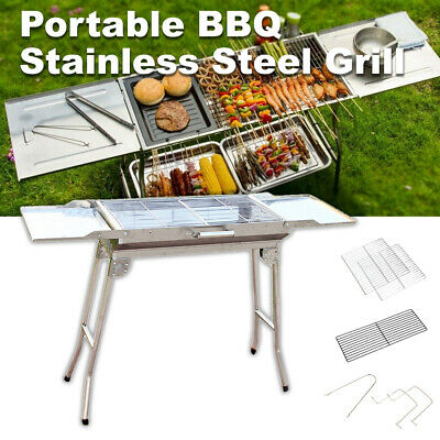 AU56.95 • Buy Stainless Steel Outdoor Portable Foldable Charcoal BBQ Grill Camping Picnic Set