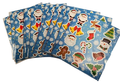 £2.49 • Buy 12 Sheets CHRISTMAS Stickers Kids Girls Childrens Party Bag Stocking Fillers