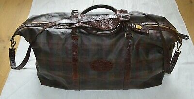 £675 • Buy Mulberry Leather Classic Check Pattern Zip Large Holdall Weekend Shoulder Bag