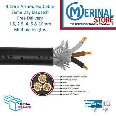 £39.64 • Buy Armoured Cable 3 Core 6943x SWA Multiple Lengths & Sizes 1.5, 2.5, 4, 6 And 10mm