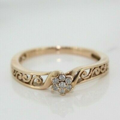 £90 • Buy 9ct Rose Gold Diamond Cluster Ring (Size L 1/2, US 6)