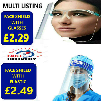 Face Shield Full Face Visor Protection Mask Ppe Shield Transparent Clear Plastic • 5.95£