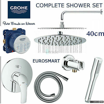 GROHE Shower Mixer EUROSMART Rapido SmartBox Rainfall Rain Shower Head 40cm SET • 329.99£