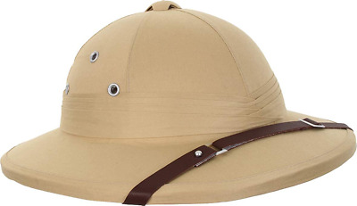 £32.65 • Buy Tropical Pith Helmet Khaki French With Leather Strap And Air Vents Replica Beige