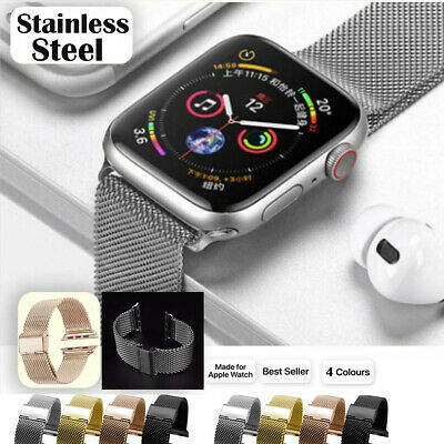 AU16.14 • Buy For Apple Watch Series 5 4 3 2 1 Stainless Steel Milanese Strap Band 44 42 40 38