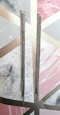 Silver Tone Metal + Faux Diamond Diamantes Extra Long Drop Chain Earrings Glam • 3.75£