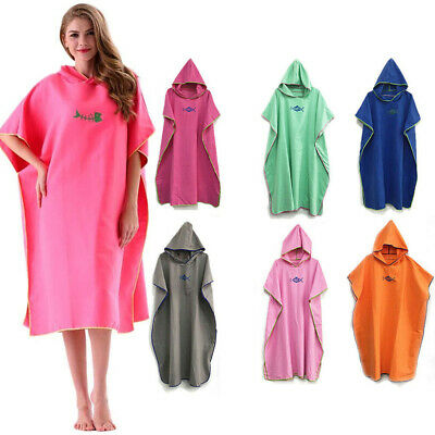 Changing Robe Towel Poncho Hooded Adults Beach Kitesurf Surfing Swimming Wetsuit • 15.99£