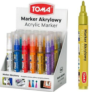 £3.59 • Buy Acrylic Paint Marker Pens Permanent For Stone Leather Fabric Plastic 22 Colours!