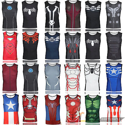 Marvel Superhero Compression T-Shirt Mens Base Layer Running Muscle Tee Top HOT • 8.59£