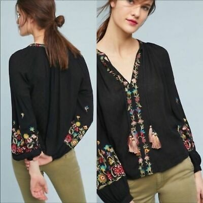 $ CDN60.32 • Buy Anthropologie Maeve Black Lanie Peasant Embroidered Top Size XS