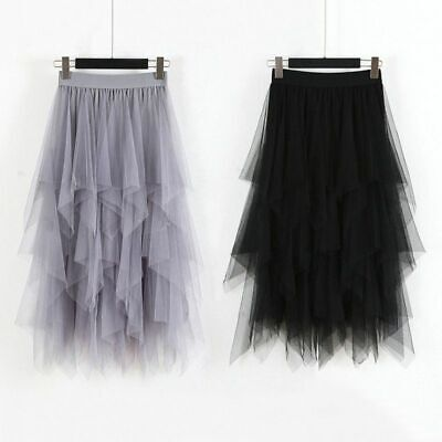 Sexy Women High Waist Tulle Mesh Skirt Sheer Net Tulle Pleated Maxi Party Dress • 12.99£
