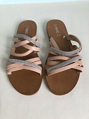 Ladies Or Girls Peach Silver Flat Sandals Size 36 UK 3.5 Open Toe - New • 6.99£