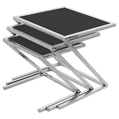 Black Glass Nest Of Tables • 141.92£