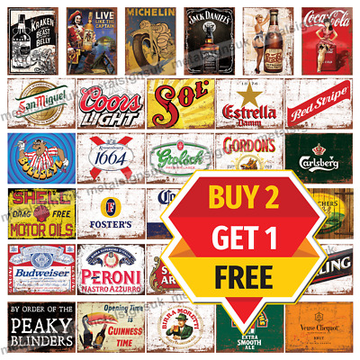 Large Metal Signs Man Cave Retro Pub Bar Vintage Wall Plaque Beer Garage Shed   • 6.95£