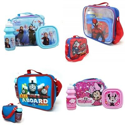 New Kids Boys Girls 3pc Lunch Box Set With Sport Water Bottle & Bag. • 9.19£