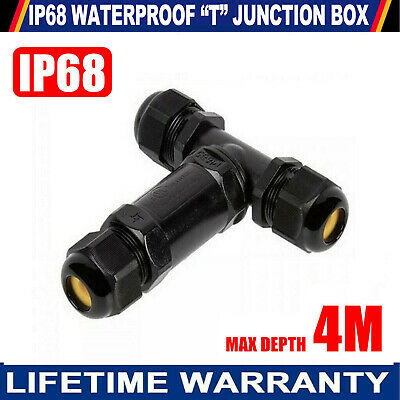 £4.79 • Buy 3 Way T 5p Junction Box Outdoor Ip68 Waterproof Cable Gland Connector Protection