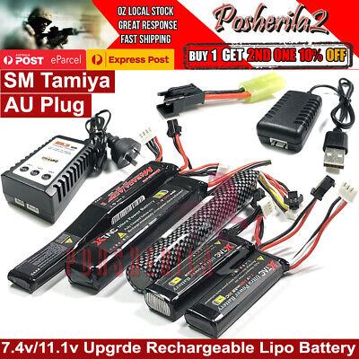 AU15.95 • Buy 11.1v 7.4v Lipo Battery SM Tamiya Adaptor B3 Charger J8 J9 10 LDT Gel Blaster AU