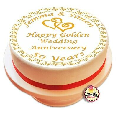 £5.50 • Buy Golden Wedding Cake Topper Personalised Edible Icing Sheet Printed Decoration
